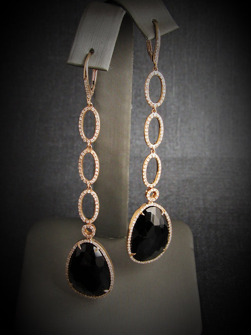 14KT Rose Gold Diamond And Black Onyx Long Earrings
