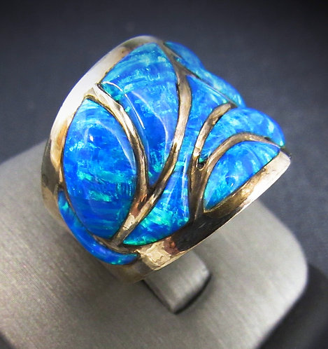 Large Blue Opal In Lay Sterling Silver Ring