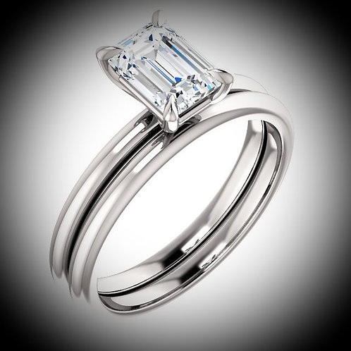 14KT White Gold Emerald Cut Solitaire Engagement Ring