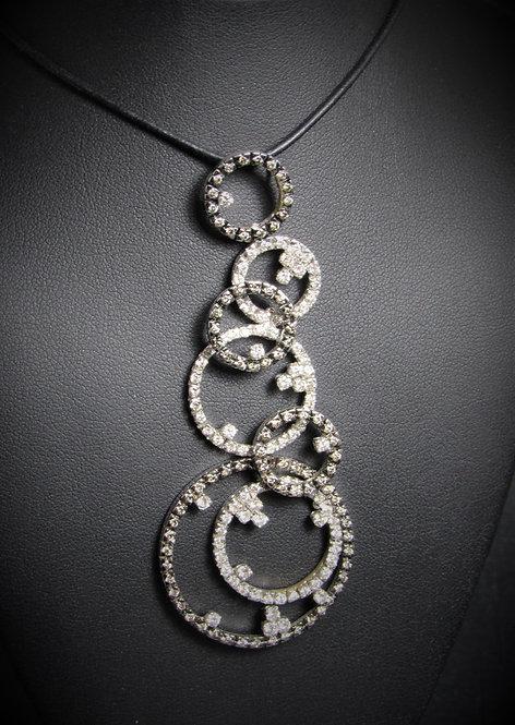 18KT White And Black Gold Champagne And White Diamonds Multi-Circle Pendant