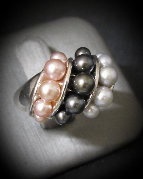 Multipearl Sterling Silver Ring