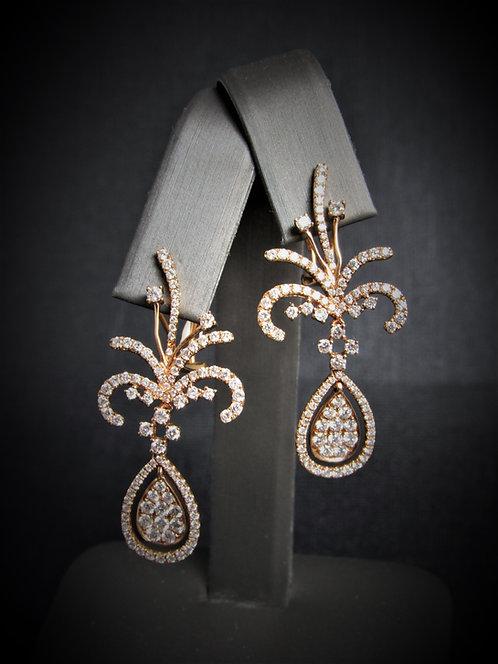 18KT Rose Gold Diamond Fancy Earrings