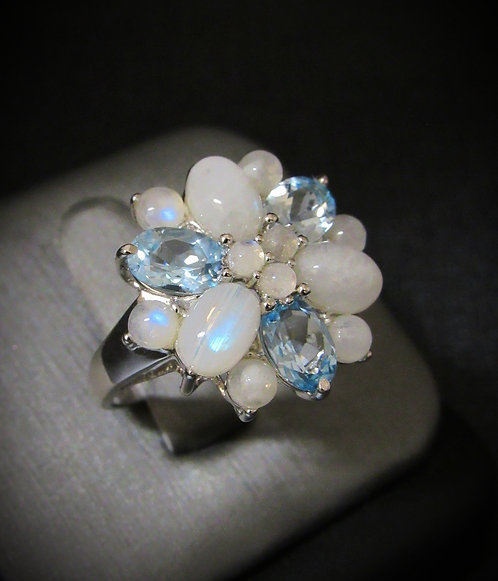 Opalite & Blue Topaz 14KT Gold Plated Sterling Silver Ring
