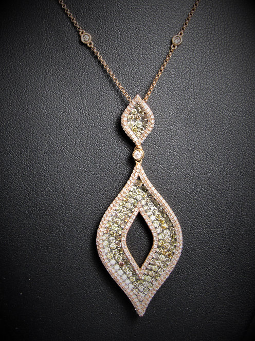18KT Rose Gold Champagne Diamond Pave Style Pendant