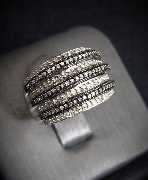 Two Tone Diamonds 18KT Gold Plated Sterling Silver Ring