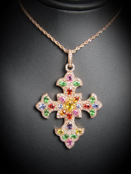 14KT Rose Gold Diamond And Multi Sapphires Fancy Cross Pendant