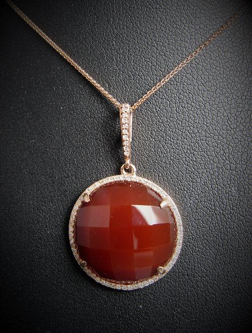 14KT Rose Gold Diamond And Cornelia Round Pendant