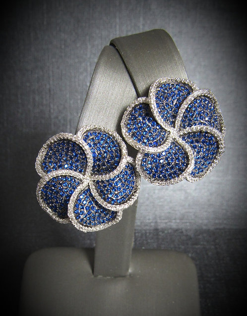 Spiral Flowers Sapphire & White Topaz 14KT Gold Plated Sterling Silver Earrings