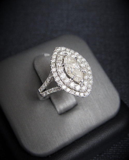 18KT White Gold Marquise Cut Diamond Halo Style Engagement Ring
