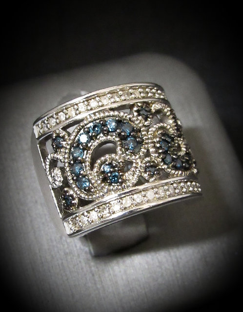 White Diamonds & Blue Diamonds Swirl 18KT Gold Plated Sterling Silver Ring