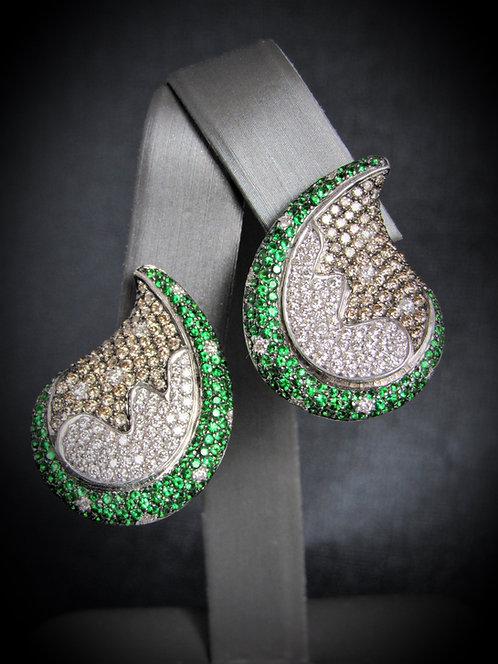 18KT White Gold Diamond And Tsavorite Fancy Earrings