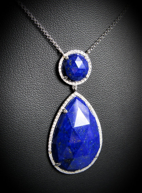 14KT White Gold Diamond And Lapis Necklace