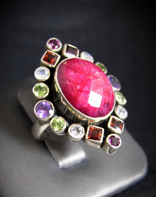 Ruby Multigem Sterling Silver Ring