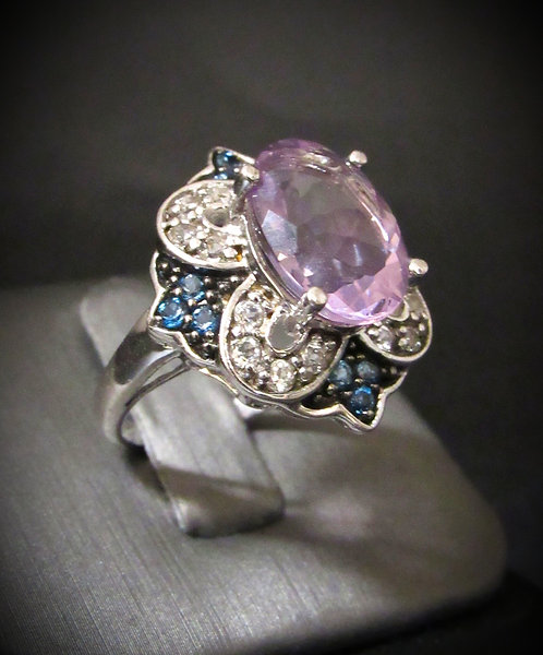 Oval Amethyst, Sapphires, & White Topaz Sterling Silver Ring