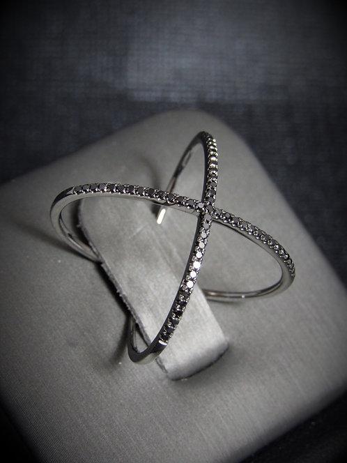 14KT Black Gold Black Diamond Criss-Cross Ring