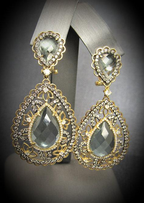 14KT Yellow Gold Green Amethyst And Diamond Fancy Earrings