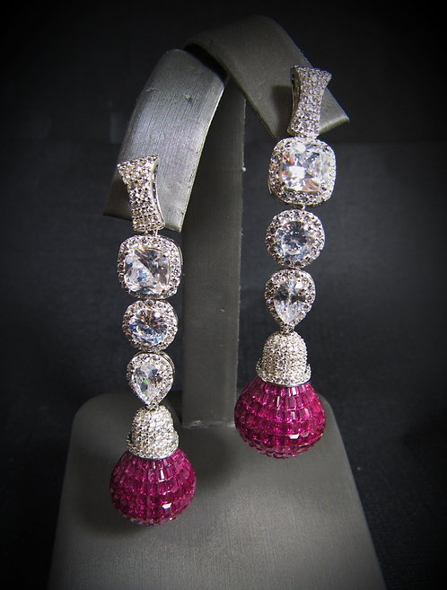 Pavé Ruby & White Topaz 18KT Gold Plated Sterling Silver Drop Earrings