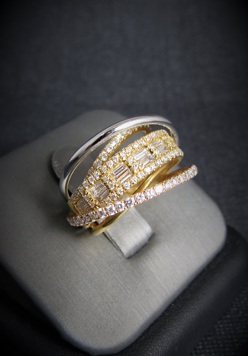 18KT White Yellow And Rose Gold Diamond Fancy Ring