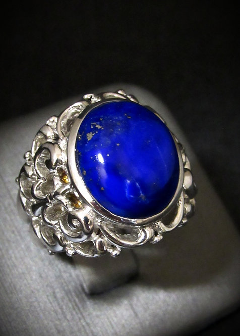 Oval Lapis Sterling Silver Ring