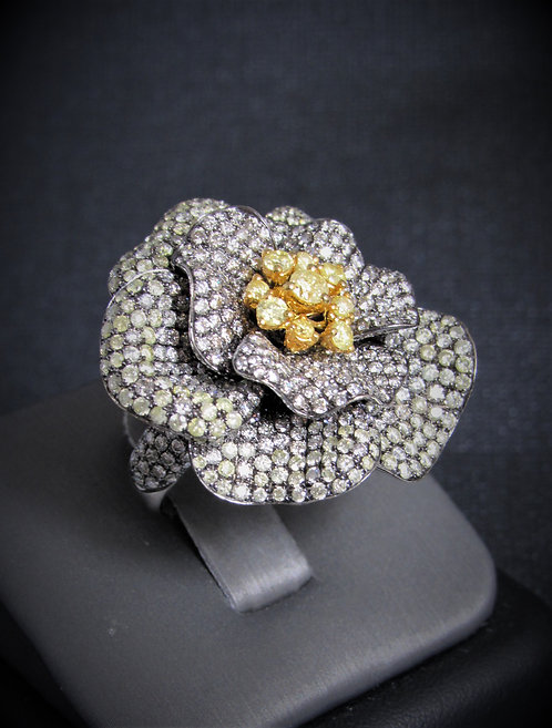 18KT Black Gold Diamond Pave Style Flower Ring