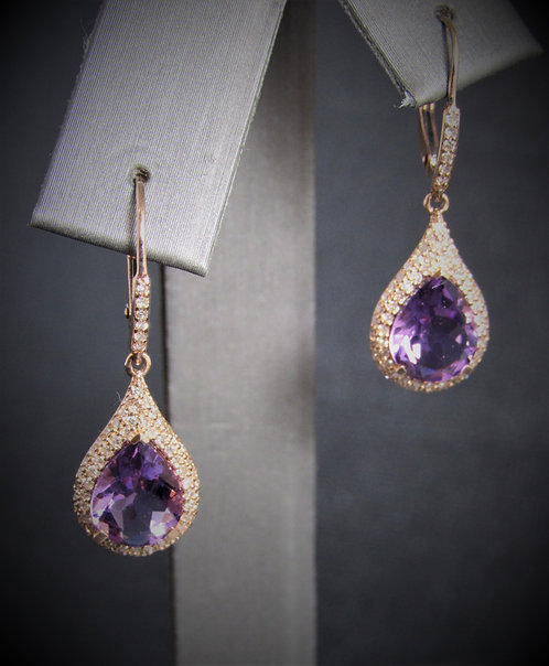 14KT Rose Gold Diamond And Amethyst Dangling Earrings