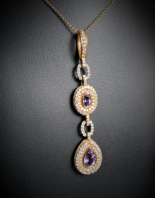 18KT Rose And White Gold Diamond And Amethyst Pendant