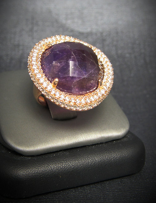 Amethyst & White Topaz 14KT Rose Gold Plated Sterling Silver Ring