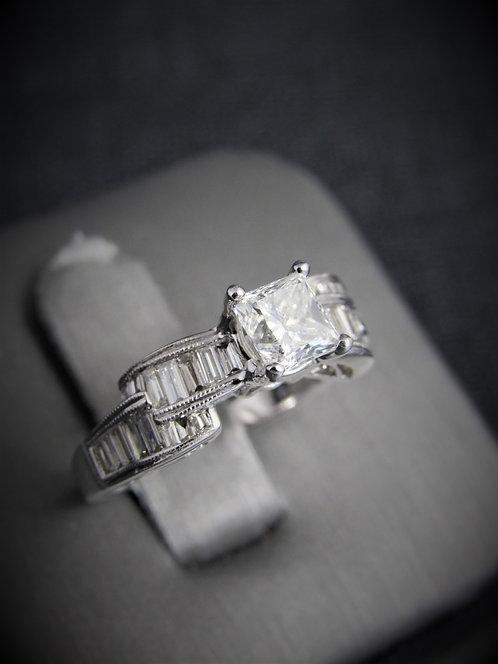 14KT White Gold Princess Cut Diamond Engagement Ring