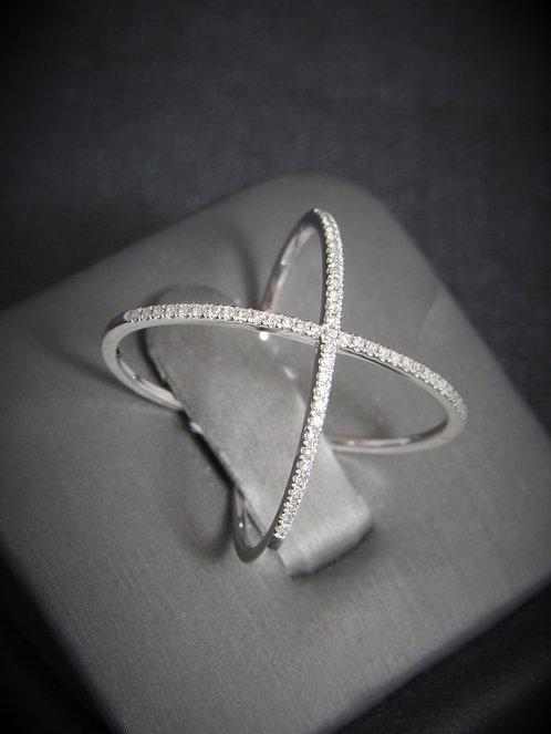 14KT White Gold Diamond Criss Cross Ring