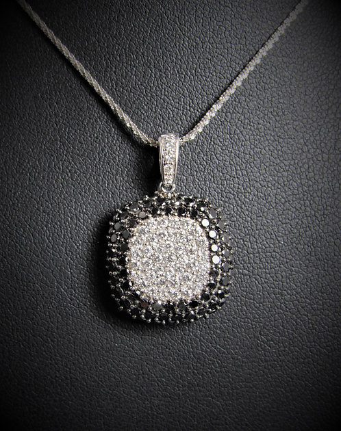 "14KT White Gold Black And White Diamonds Pave ""EFFY"" Pendant"