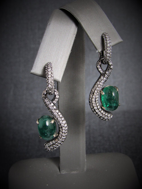 14KT Balck Gold Diamond And Cabochon Emerald Earrings