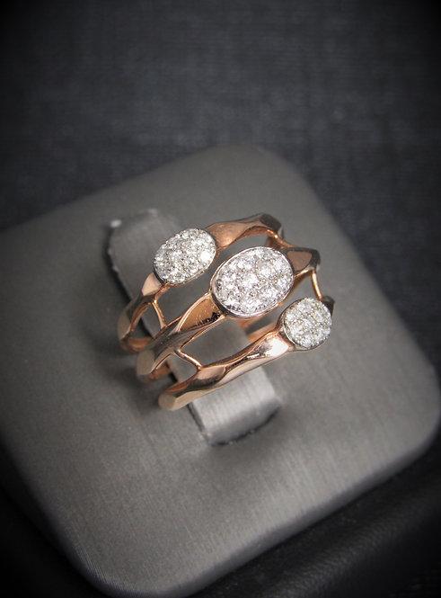 14KT Rose Gold Diamond Multi-Row Ring