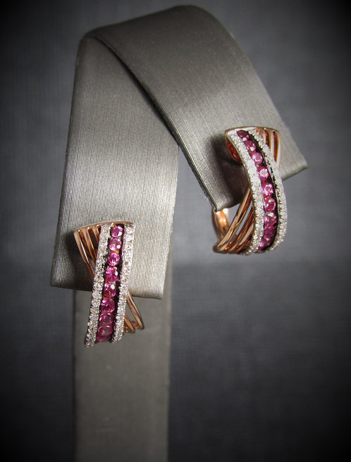 14KT Rose Gold Diamond And Pink Sapphire Criss-Cross Earrings