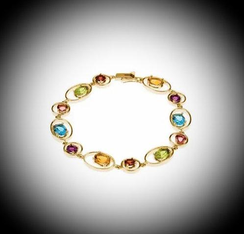 14KT Yellow Gold Multi-Gem Bracelet