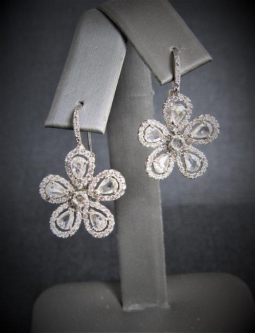 18KT White Gold Rose Cut Diamond Flower Earrings