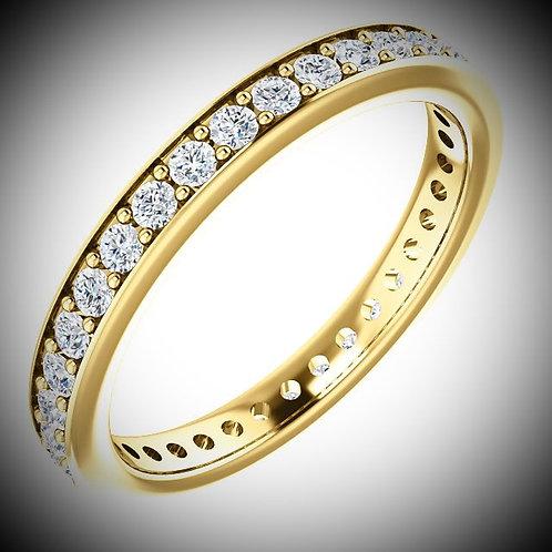 14KT Yellow Gold Channel Set 2mm Round Cut Diamonds Eternity Band