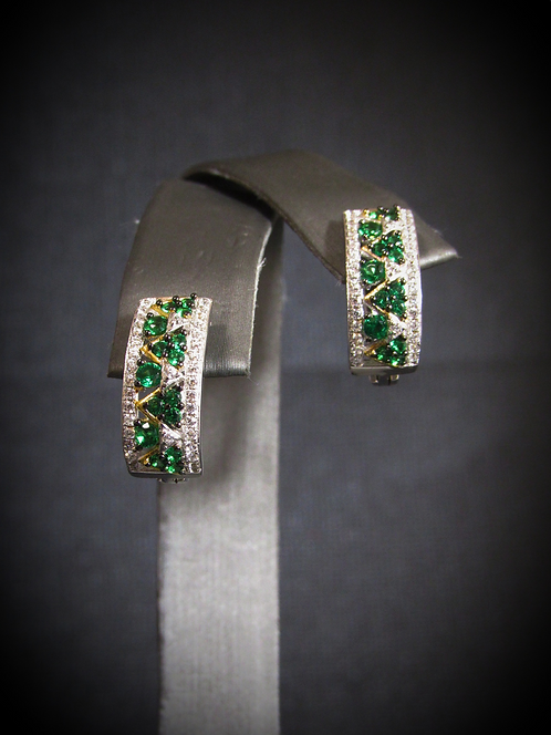 Emerald & White Topaz 14KT Yellow Gold With Sterling Silver Earrings