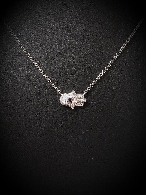 14KT White Gold Pavé Diamond & Sapphire Sideways Hamsa Necklace