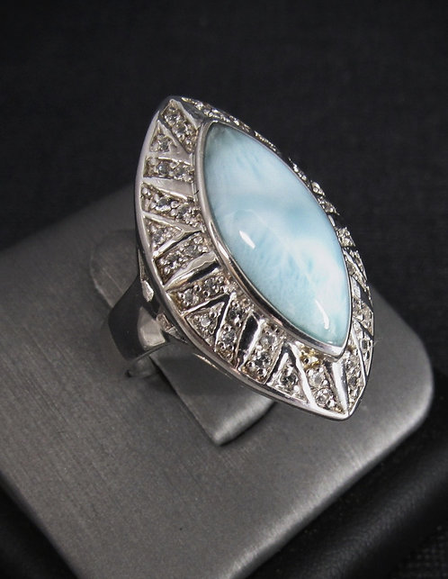 Marquise Larimar With White Sapphires Sterling Silver Ring