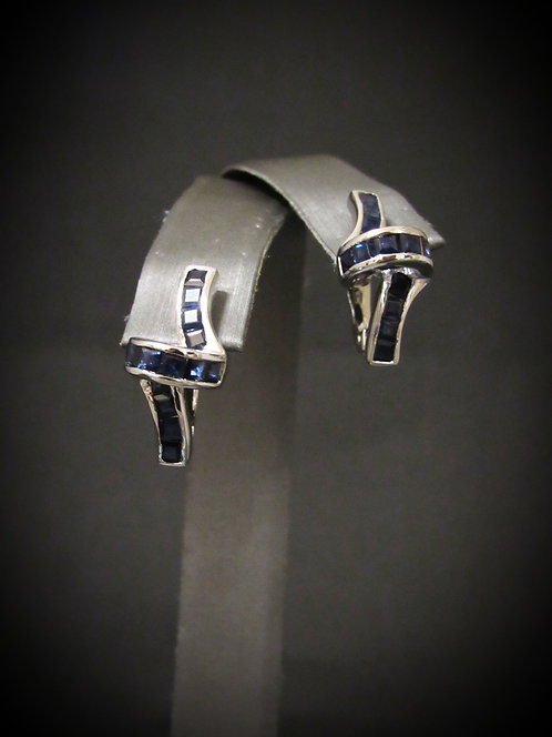 Loop Sapphire 14KT Gold Plated Sterling Silver Earrings