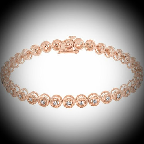 14KT Rose Gold Diamond  Bracelet