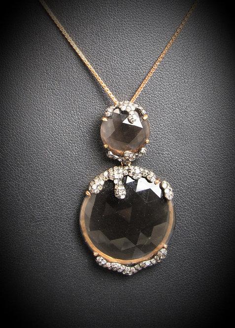 18KT Rose Gold Smoky Topaz And Diamond Pendant