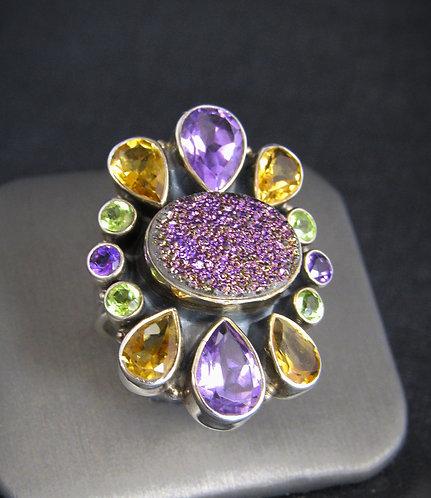 Purple Druzy, Amethyst, Citrine & Peridot Sterling Silver Ring