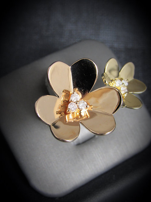 14KT Rose And Yellow Gold Diamond By-Pass Flower Ring