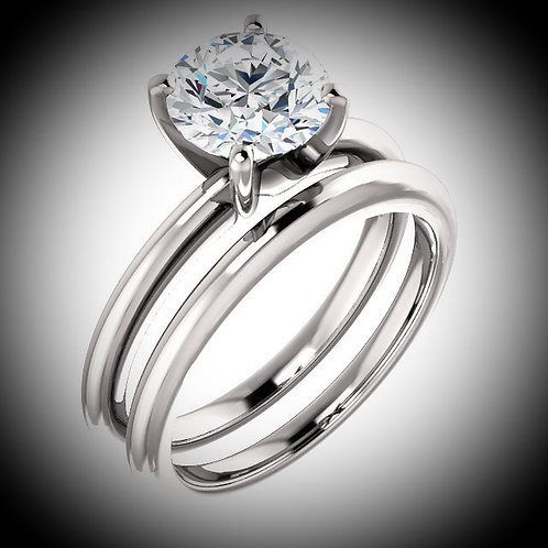14KT White Gold Round Cut Diamond Solitaire Engagement Ring