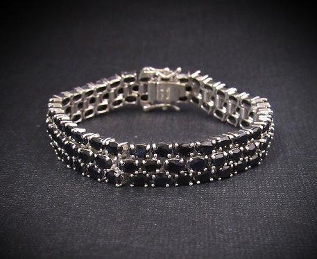 Three Strand Sapphire Sterling Silver Bracelet