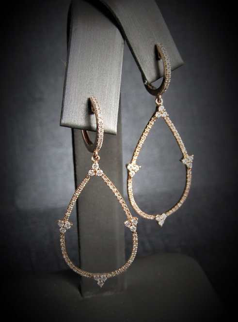 14KT Rose Gold Diamond Pear Shape Dangling Earrings
