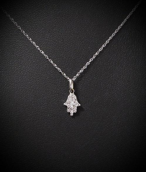 14KT White Gold Pavé Diamond Baby Hamsa Necklace