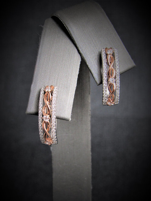 14KT Rose Gold And White Gold Diamond Earrings