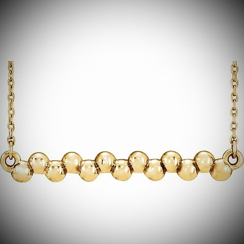 14KT Yellow Gold Beaded Bar Necklace